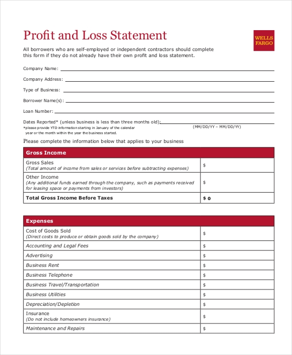 Sample Profit and Loss Form 9 Free Documents in PDF – Profit and Loss Statement for Self Employed Template