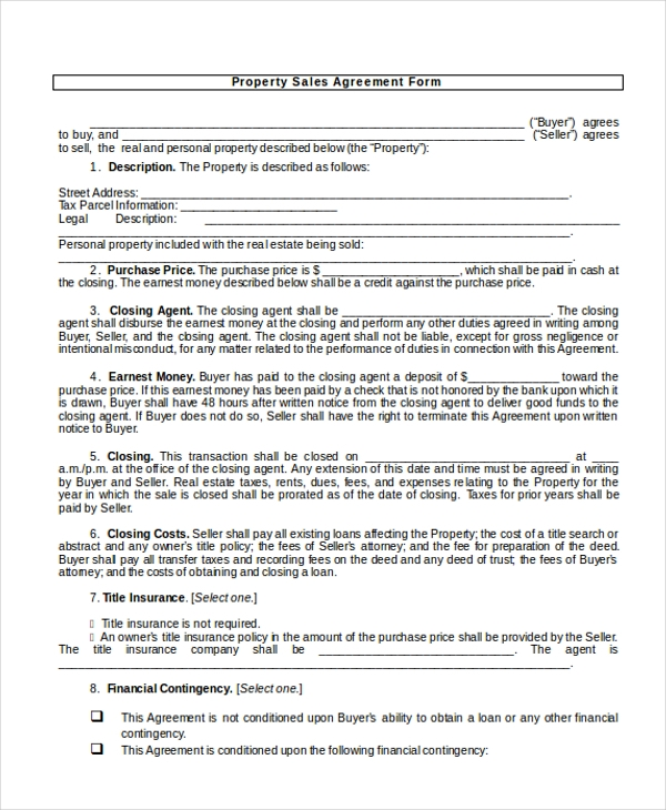 10 Sample Sales Agreement Forms Free Sample Example