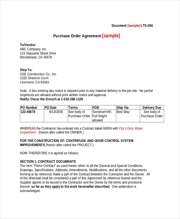 purchase order agreement form