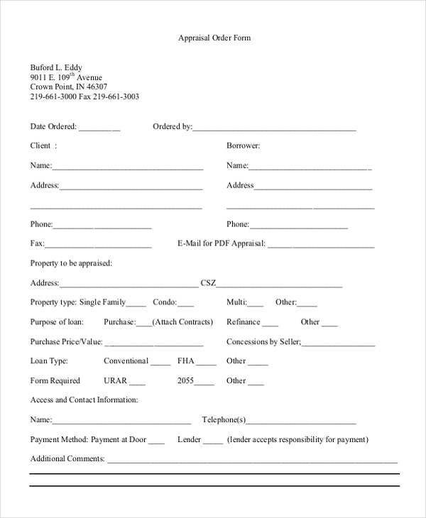 Real Estate Appraisal Order Form