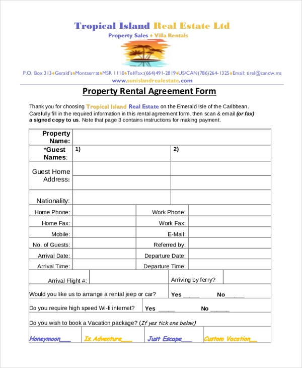 real estate rental agreement form