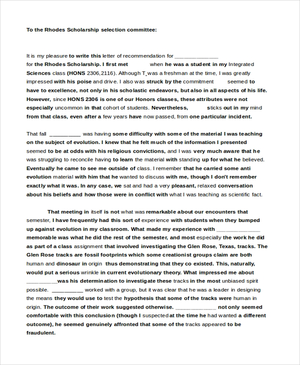 Reference Letter For Scholarship from images.sampleforms.com