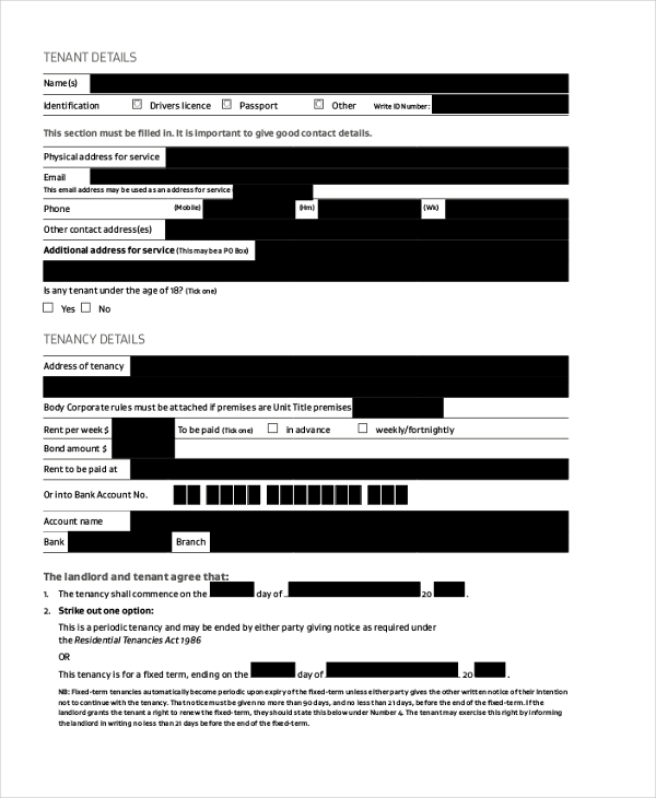 Rent Agreement Form