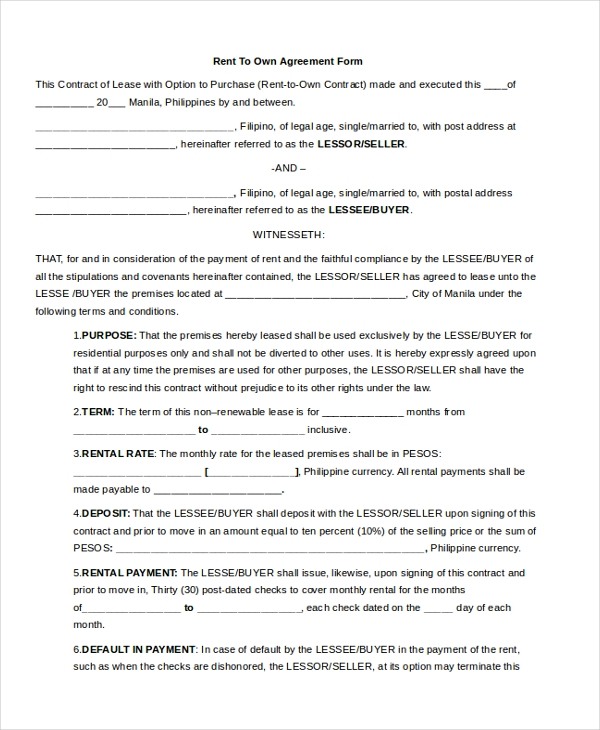 Sample Rent Agreement Forms  Sample Example Format