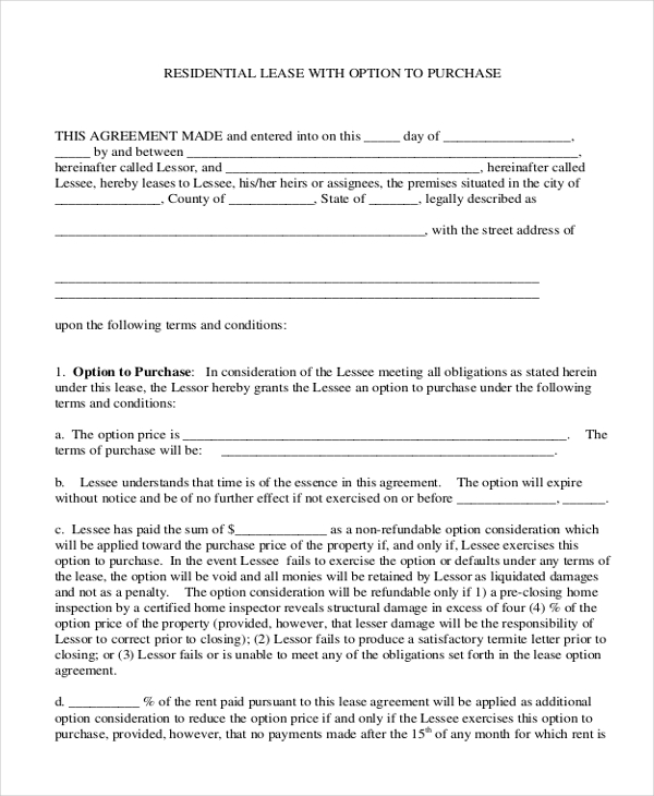 Purchase Agreement Forms Blank Home Purchase And Sale Agreement