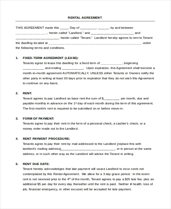 rental tenancy agreement form