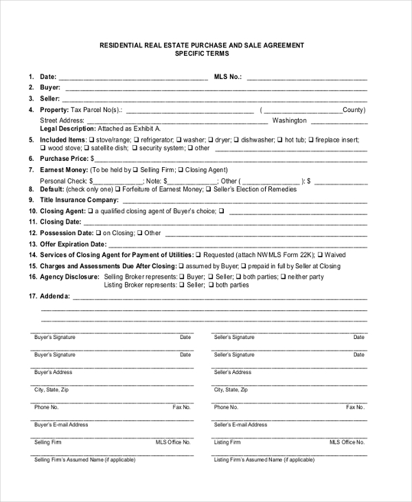 residential purchase agreement form