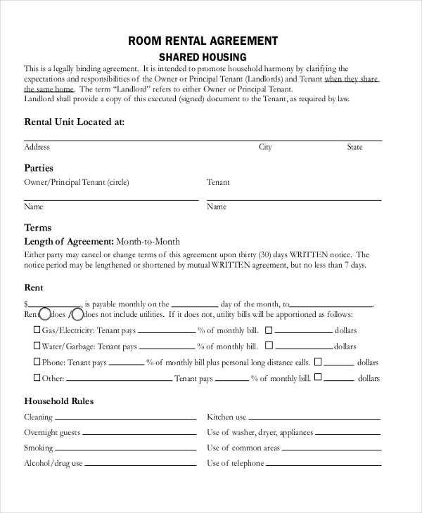 residential room rental agreement form