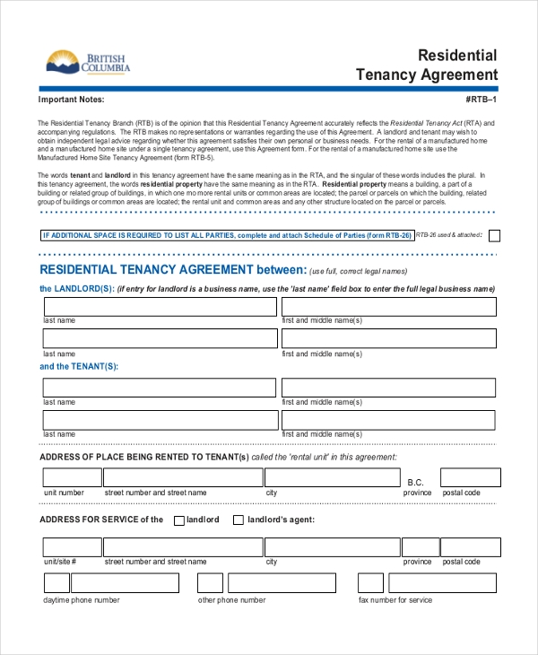 Free 6 Residential Agreement Forms In Word Pdf