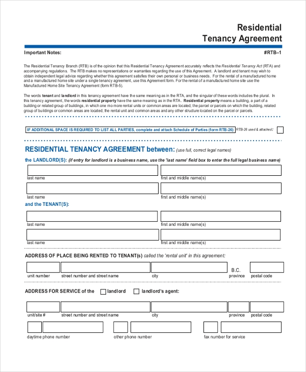 9+ Sample Room Agreement Forms - Sample, Example, Format