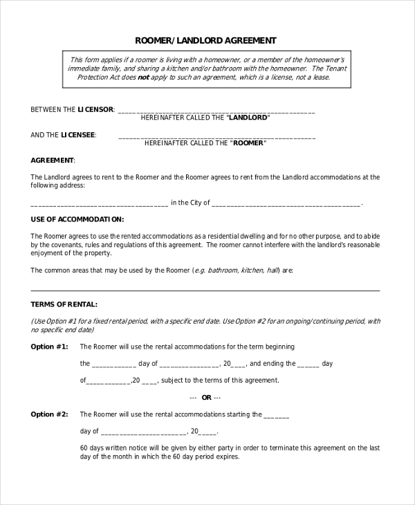 9 Sample Room Agreement Forms Sample Example Format – Rent a Room Contract