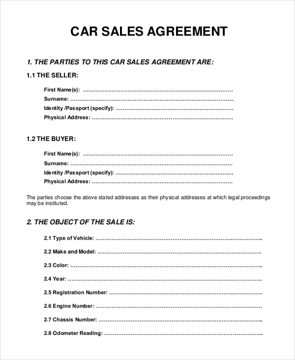 10 Sample Sales Agreement Forms Free Sample Example Format – Vehicle Sale Agreement Template