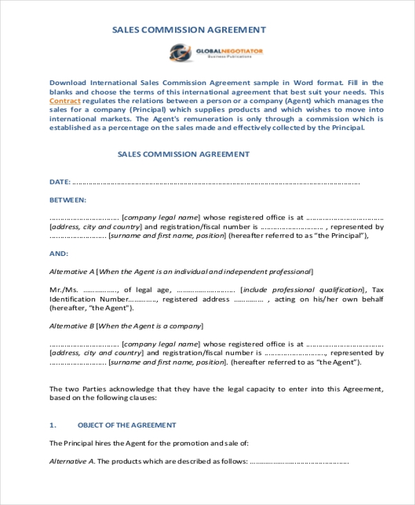 sales commission agreement form