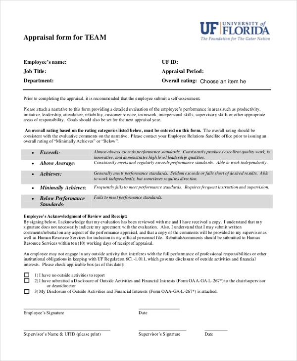 sales team appraisal form