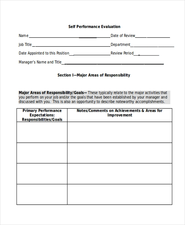 Self Evaluation Form Sample 9 Free Documents in PDF Doc – Self Performance Evaluation