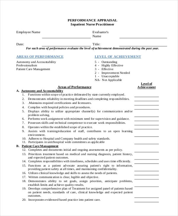 Sample Staff Appraisal Forms  Free Sample ExampleFormat