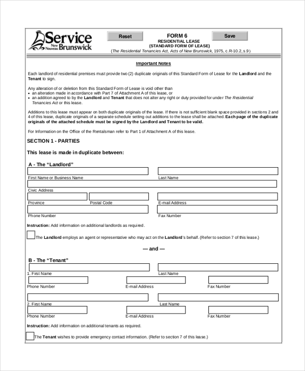 standard form residential tenancy agreement