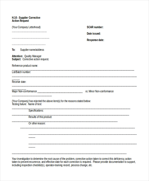 Sample Action Request Forms  Free Sample Example Format