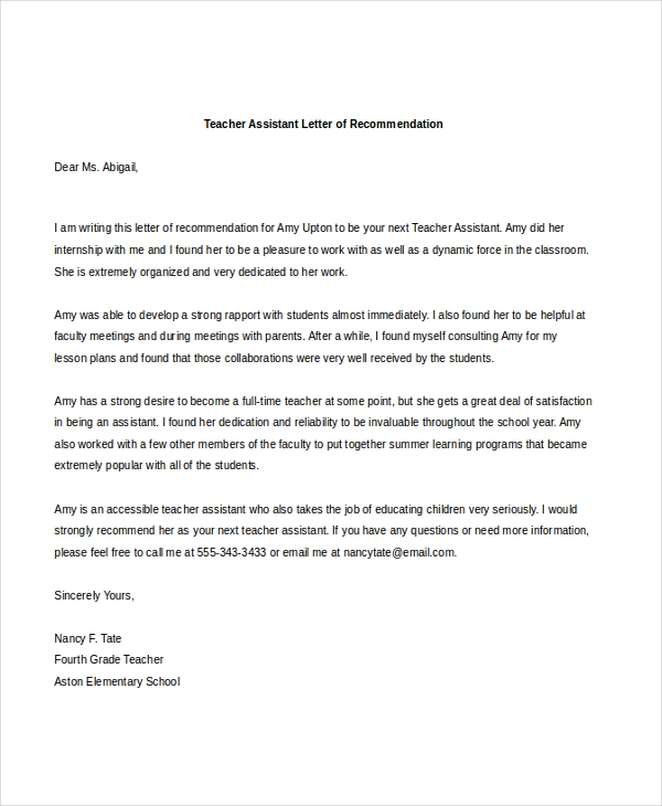 sample teacher letters of recommendation