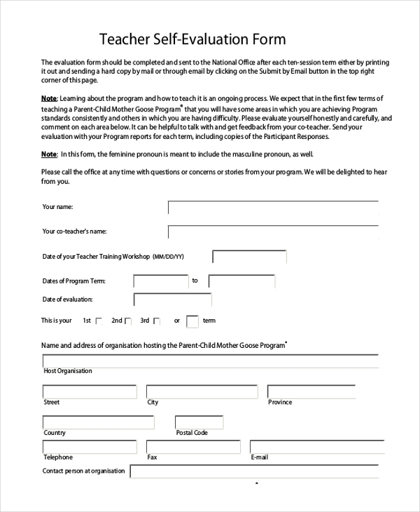 teacher self appraisal form