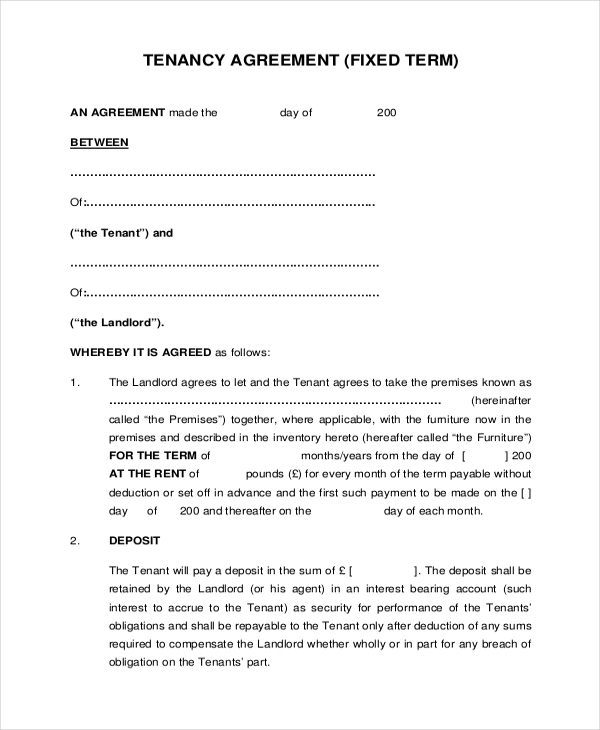 Free 8 Sample Tenancy Agreement Forms In Sample Example