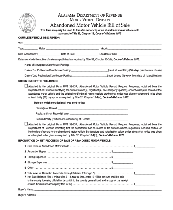 Trailer Bill Of Sale Form   Free Documents In Word