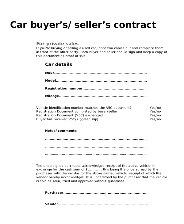Used Car Purchase Agreement Form
