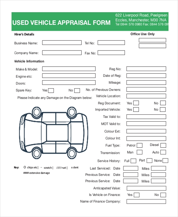 Sample Vehicle Appraisal Form   Free Documents In Pdf Doc