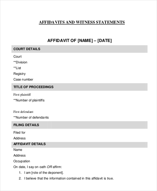 Sample Witness Affidavit Form 8 Free Documents in PDF Doc – Word Affidavit Template