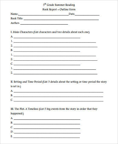 5th grade reading book report form
