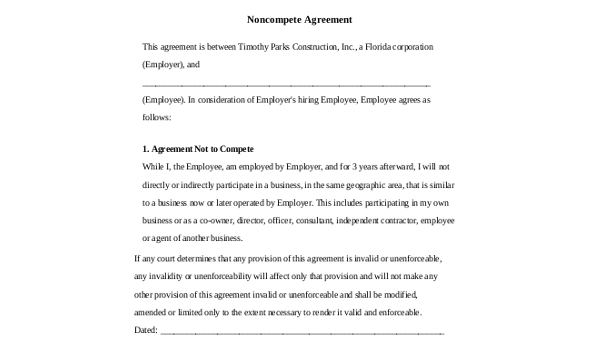 Sample Non Compete Agreement Form 8 Free Documents In Word Pdf
