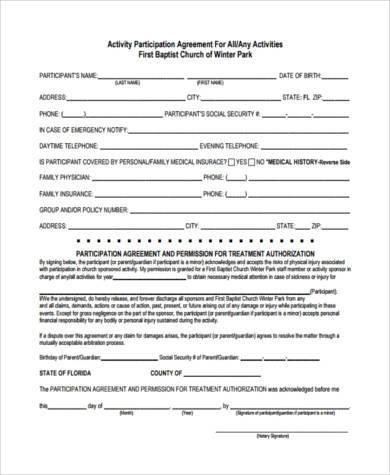 activity participation agreement form
