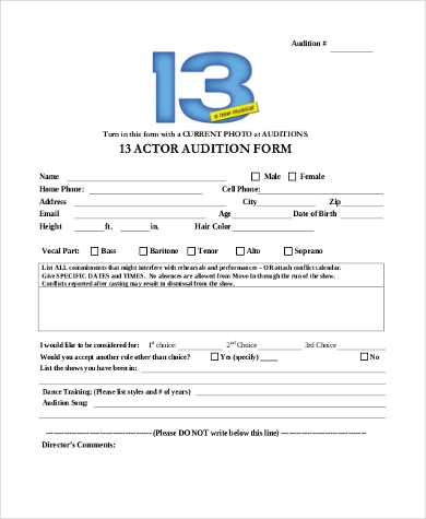 A Helpful Form To Use When Holding Auditions