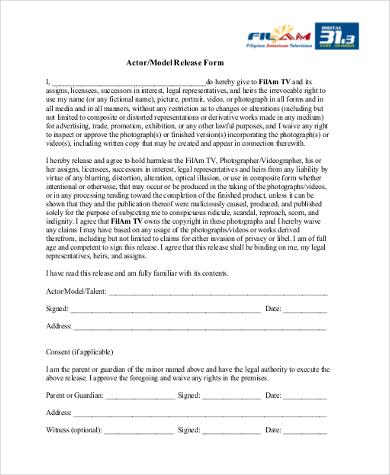 actor model release form
