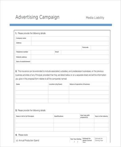 advertising campaigns proposal form