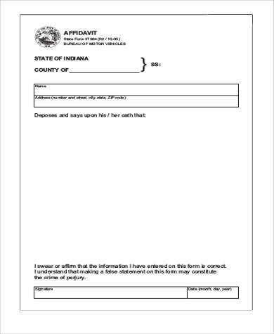 Free Affidavit Sample Forms   Free Documents In Word Pdf