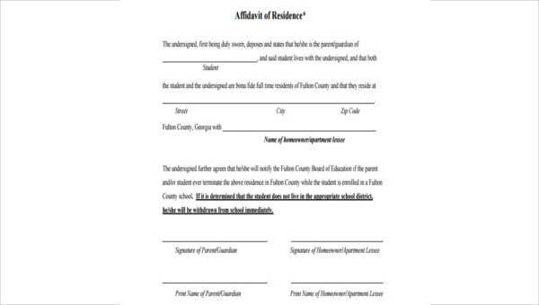 7+ Affidavit of Residency Form Samples - Free Sample, Example Format ...