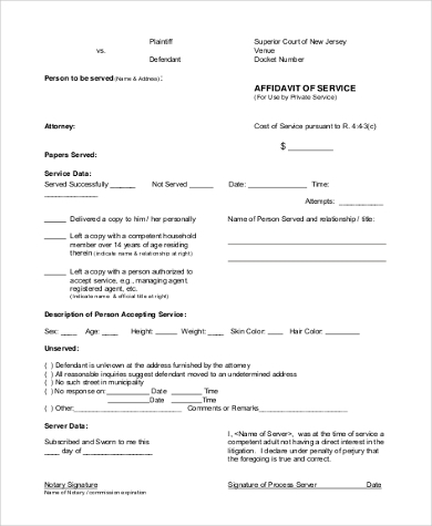 affidavit of service form example
