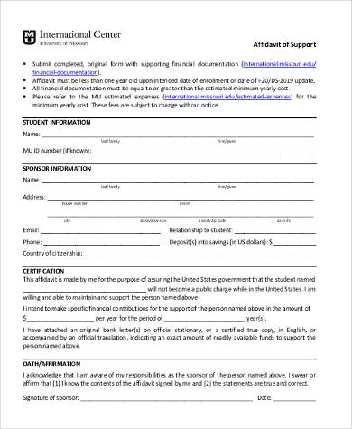 affidavit of support form example