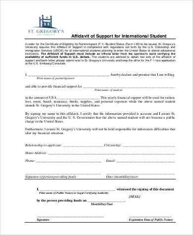 affidavit of support form for student