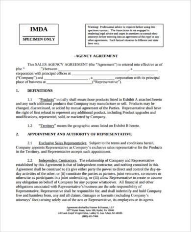 agency agreement form example