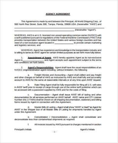 agency agreement form in pdf