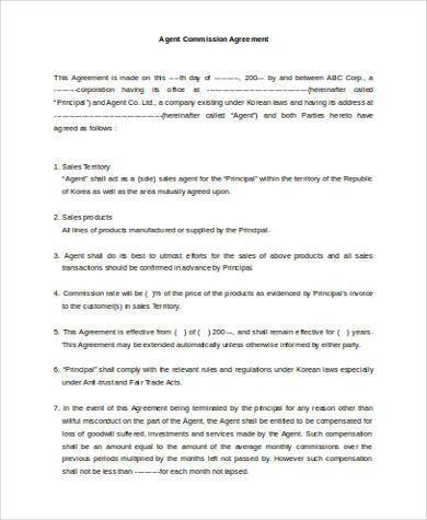 Sample Agency Agreement Forms   Free Documents In Word Pdf