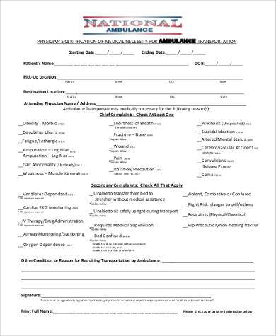 ambulance medical necessity form