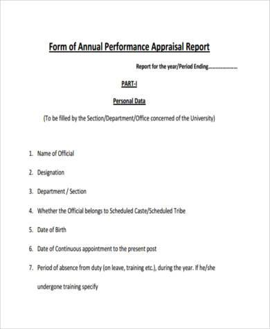 Sample Annual Performance Appraisal Forms - 8+ Free Documents In