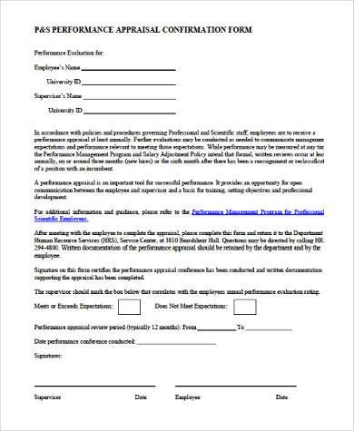 Annual Performance Appraisal Form In Word Format