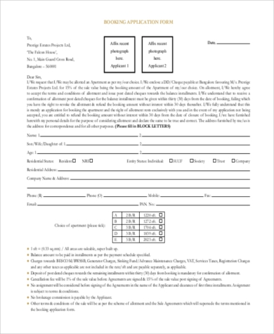 apartment booking application form