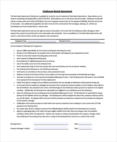 apartment clubhouse rental agreement