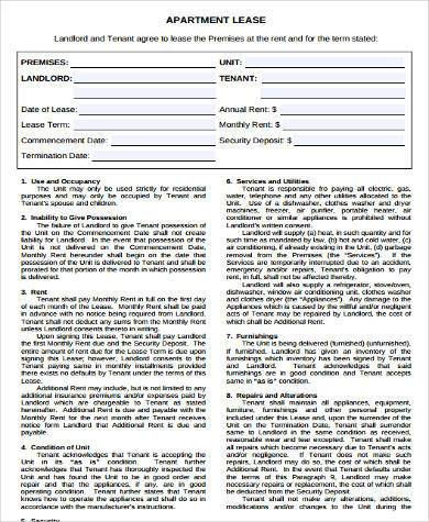 apartment rental lease agreement form
