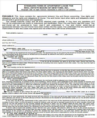 apartment rental lease agreement form1